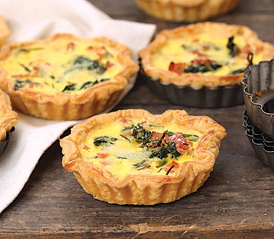 Bacon Baby Spinach and Parmesan Tarts