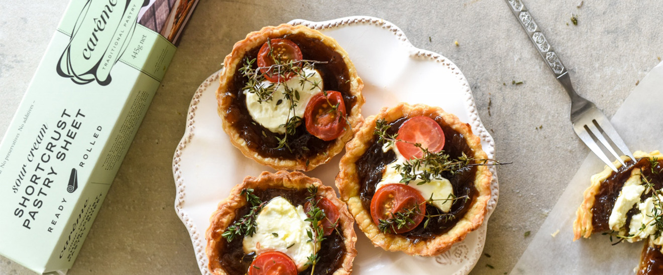 Caramelised Onion and Goats Cheese Tartlets with Careme Sour Cream Shortcrust Pastry.