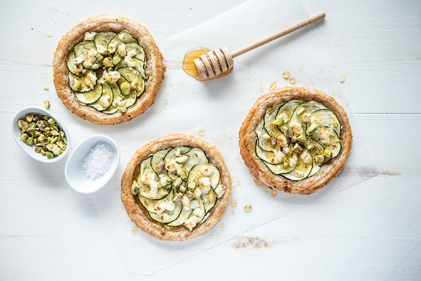 Zucchini, Goats Cheese, Honey and Pistachio Tarts