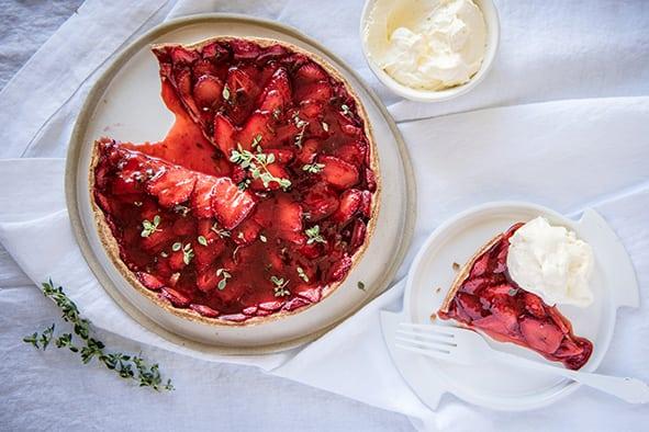 Roasted Strawberry and Lemon Thyme Tart, Spelt Shortcrust Pastry, Carême Pastry