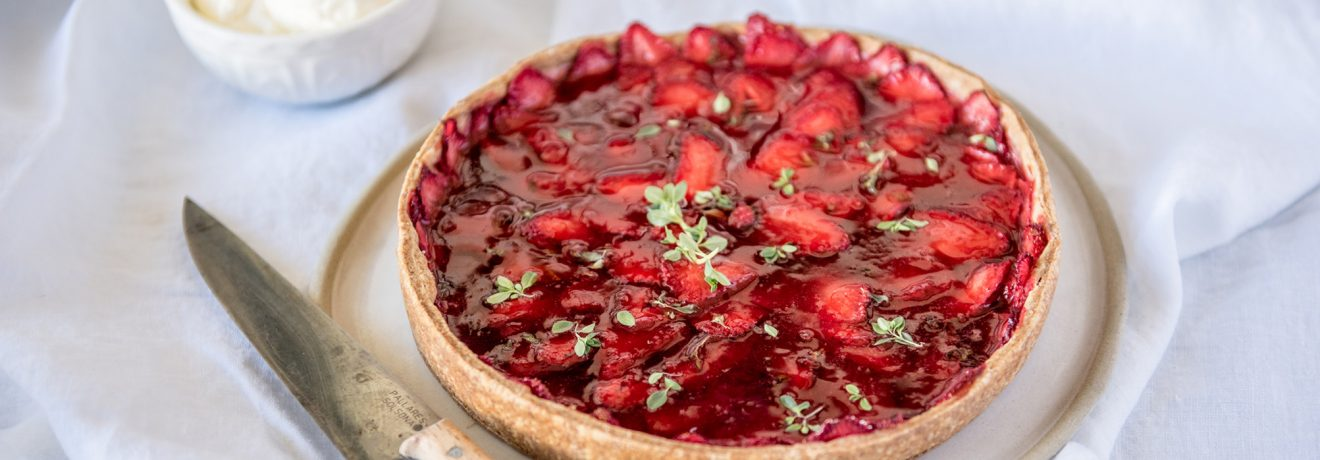 Roasted Strawberry and Lemon Thyme Tart, Spelt Shortcrust Pastry, Carême Pastry
