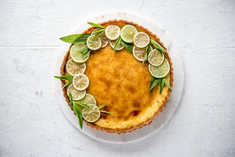 Gin, Lime and Elderflower Brûlée Tart with Vanilla Bean Sweet Shortcrust Pastry