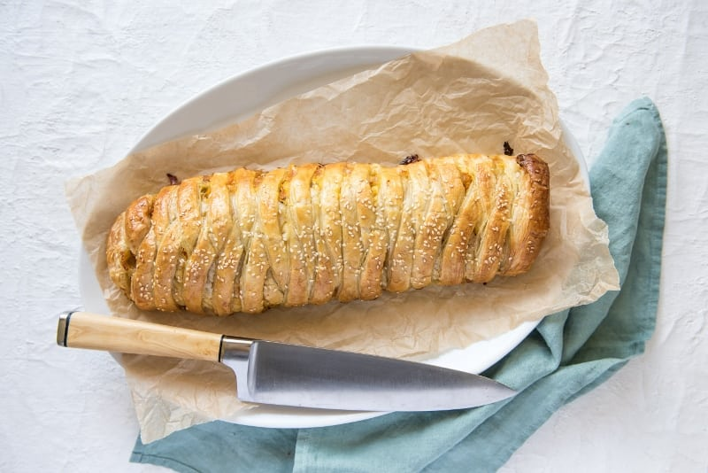 Leftover Turkey, Roast Pumpkin and Brie Braided Strudel with Carême Butter Puff Pastry