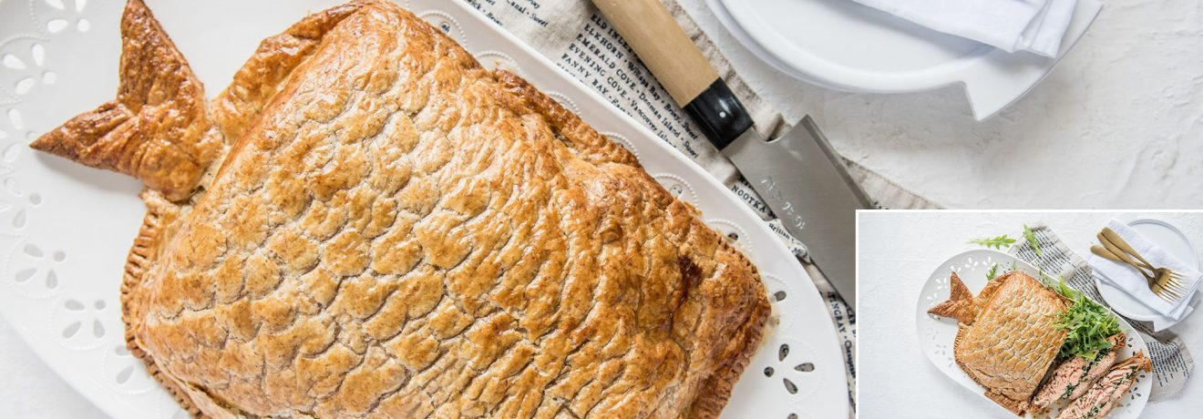 Whole Salmon en Croute with Spelt Puff Pastry