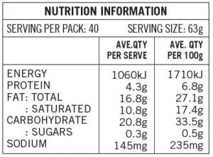 Spelt Butter Puff Nutritional Table 5kg