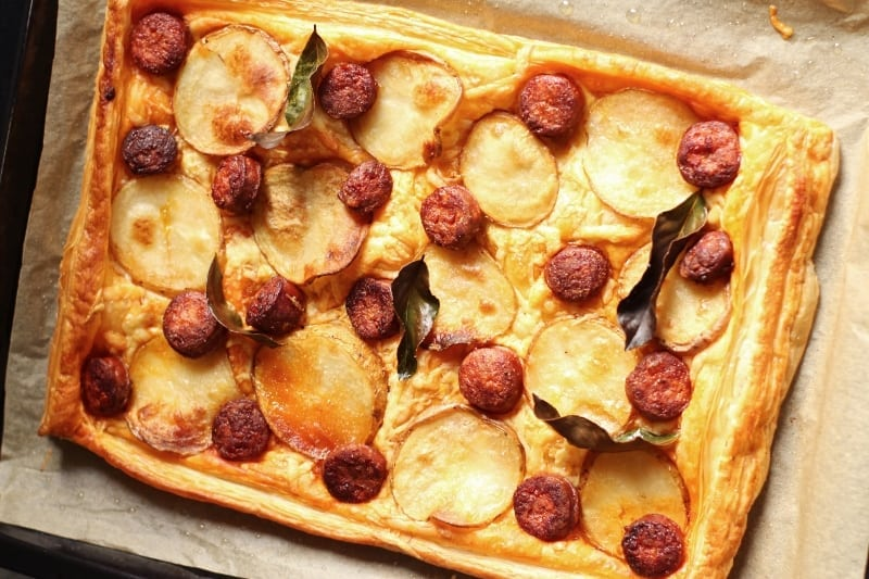 Potato, Chorizo & Gouda Tart with Carême Butter Puff Pastry