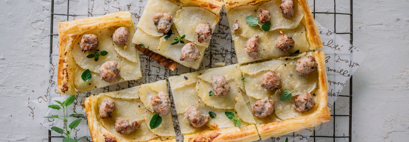 Potato, Mascarpone and Sausage Tart with Carême Butter Puff Pastry