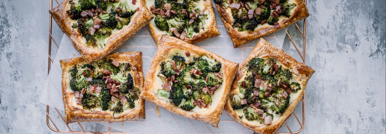 Broccoli, Bacon & Parmesan Tarts with Spelt Puff Pastry