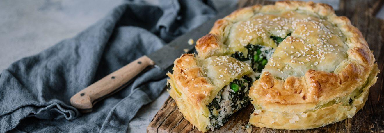 Chicken, Creme Fraiche and Kale Puff Pie
