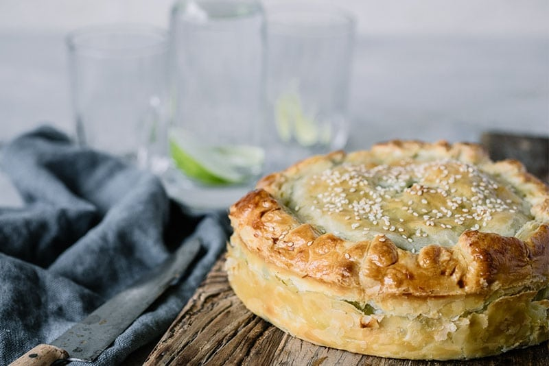 Chicken, Creme Fraiche and Kale Puff Pie