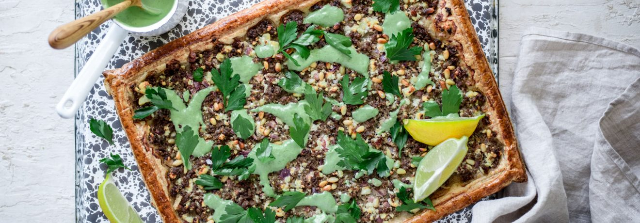 Moroccan Lamb Tart with Spelt Puff Pastry