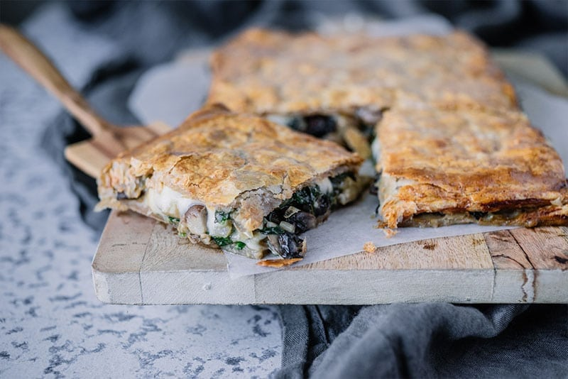 Mushroom & Spinach Slice with Spelt Puff Pastry
