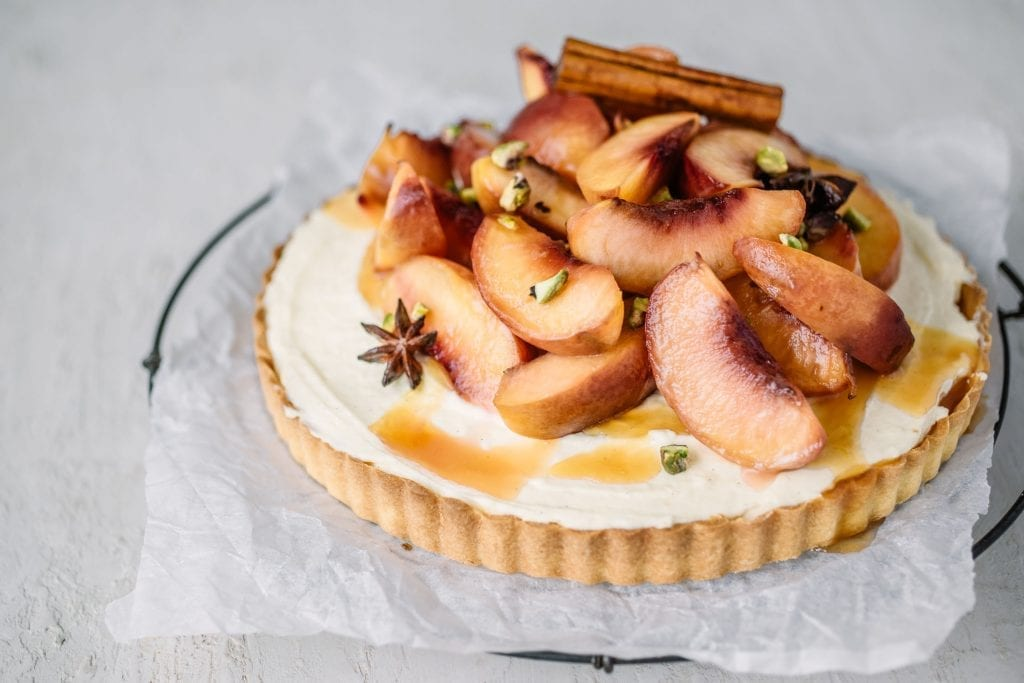 Carême Pastry Rum-Spiced Roasted Nectarine Cheesecake