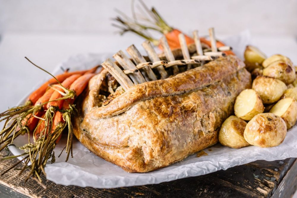Pastry-Wrapped Rack of Lamb with Lemon, Herb and Pine Nut Stuffing