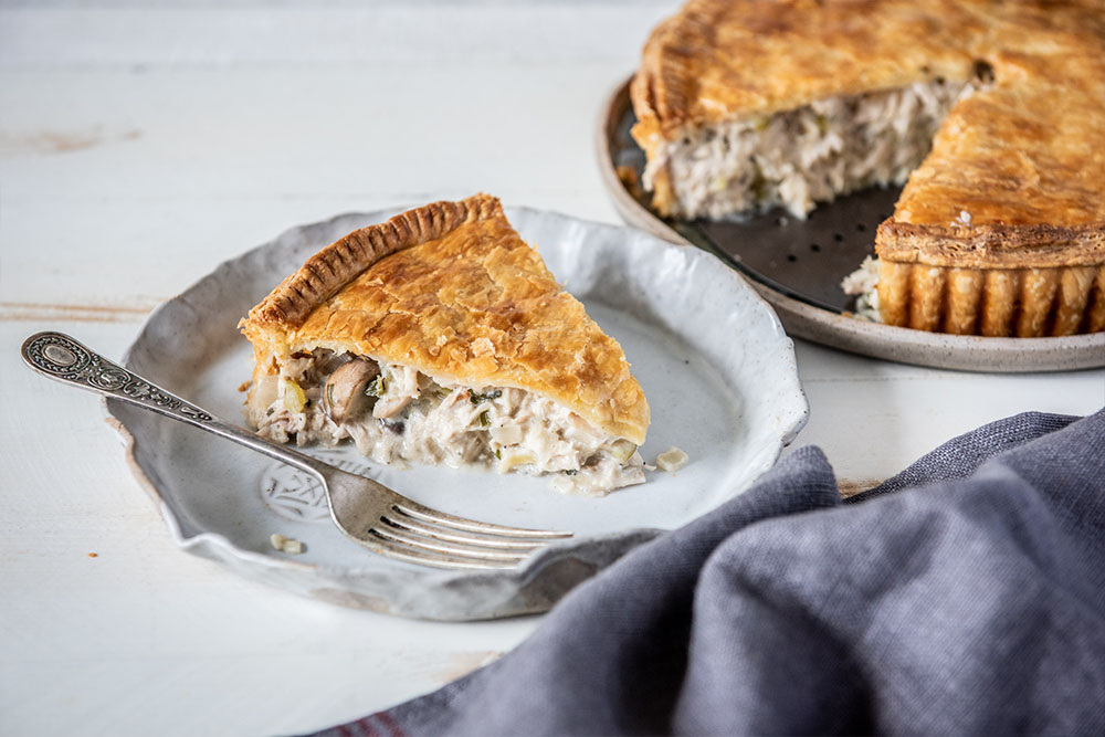 Creamy Chicken and Mushroom Pie made with Carême Sour Cream Shortcrust Pastry