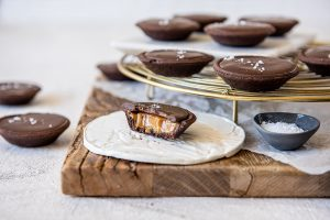 Chocolate Salted Caramel Mini Tartlets with Carême Chocolate Shortcrust Pastry