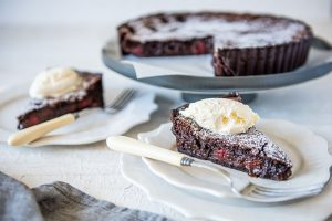 Raspberry Chocolate Brownie Tart with Carême Chocolate Shortcrust Pastry
