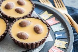Caramilk Ganache Easter Tartlets with Carême Dark Chocolate Shortcrust Pastry